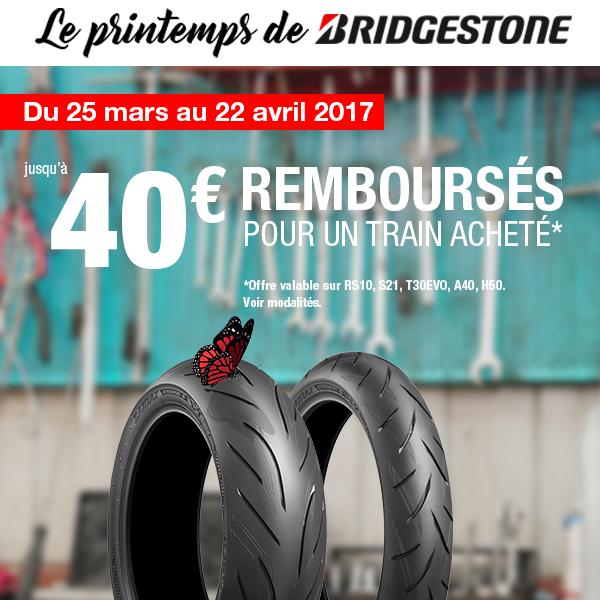 Jusqu'à 40€ remboursés sur vos pneus avec l'opération Le Printemps de Bridgestone !