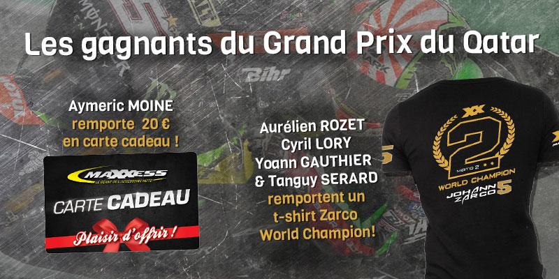 Gagnants Concours De Pronostic Du GP Du Qatar