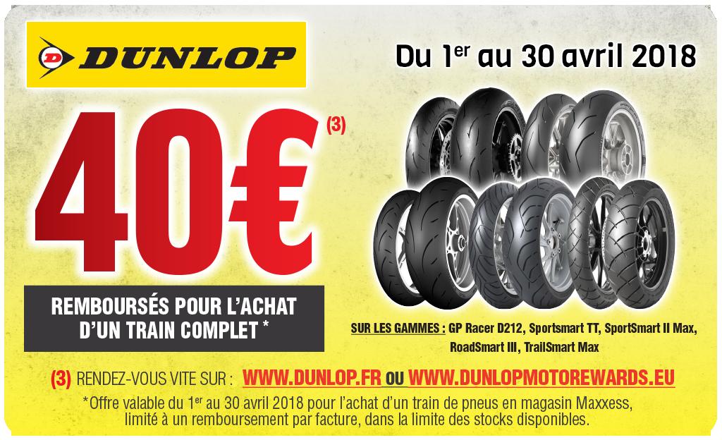 Offre Maxxess & Dunlop  – 40€ Remboursés Pour L'achat D'un Train Complet