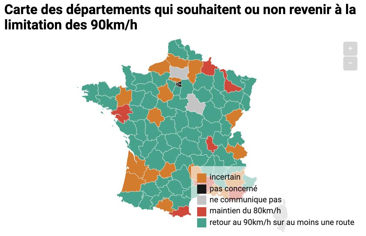 Carte des départements qui souhaitent ou non revenir  à la limitation des 90km/h