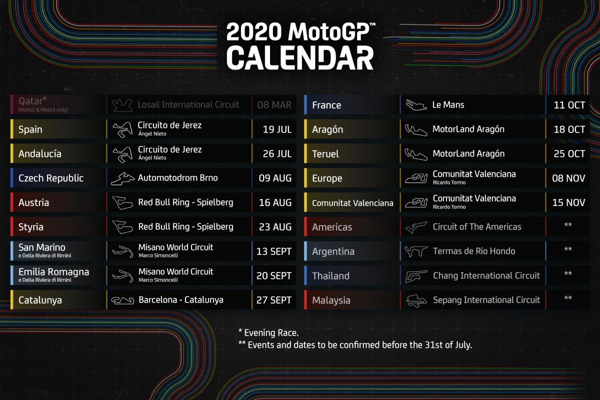 Le MotoGP™ Est De Retour : Parution Du Calendrier 2020 !